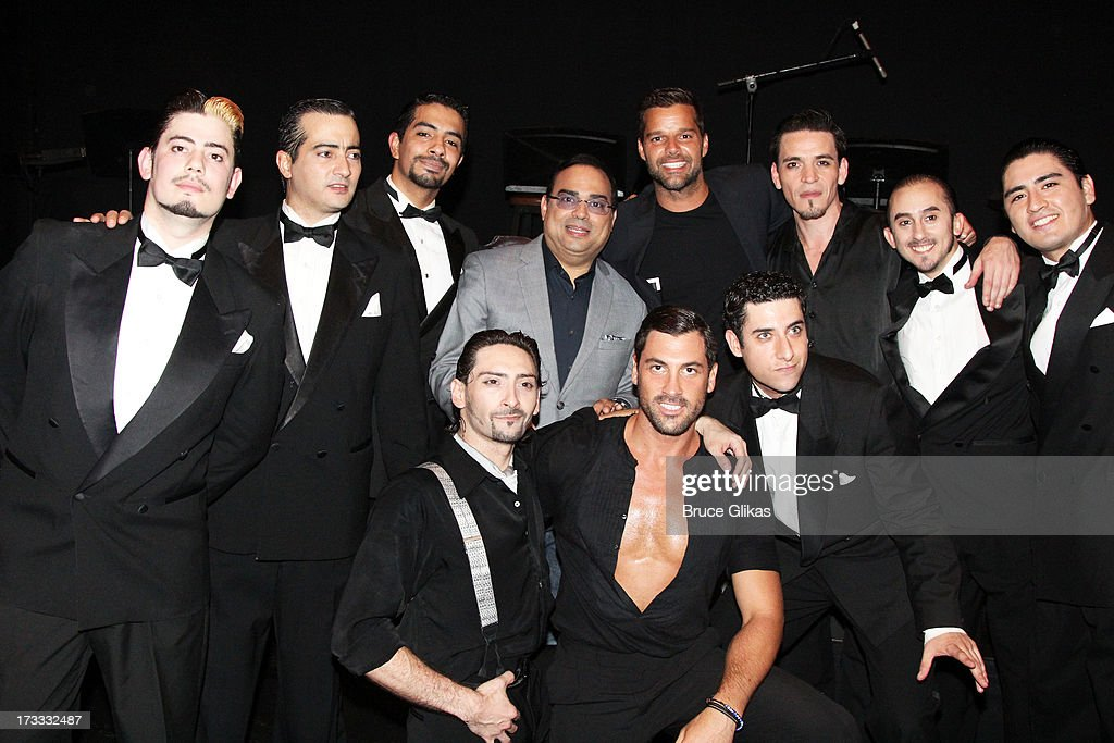 <a gi-track='captionPersonalityLinkClicked' href=/galleries/search?phrase=Ricky+Martin&family=editorial&specificpeople=160450 ng-click='$event.stopPropagation()'>Ricky Martin</a> poses with the cast backstage at the Argentinian dance sensation 'Forever Tango' on Broadway at The Walter Kerr Theater on July 11, 2013 in New York City.