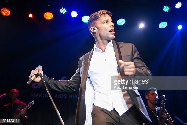 Ricky Martin wearing Dsquared2 performs at 2016 amfAR Inspiration Gala on April 15 2016 in Sao Paulo Brazil