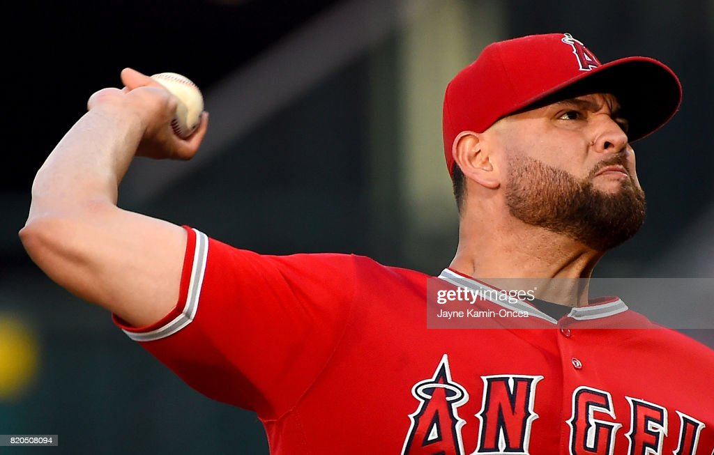 Ricky Nolasco #47 of the Los Angeles Angels of Anaheim in the first inning of the game against the Boston Red Sox of Anaheim of Anaheim at Angel Stadium of Anaheim on July 21, 2017 in Anaheim, California.
