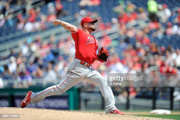 Ricky Nolasco of the Los Angeles Angels pitches against the Washington Nationals at Nationals Park on August 16 2017 in Washington DC