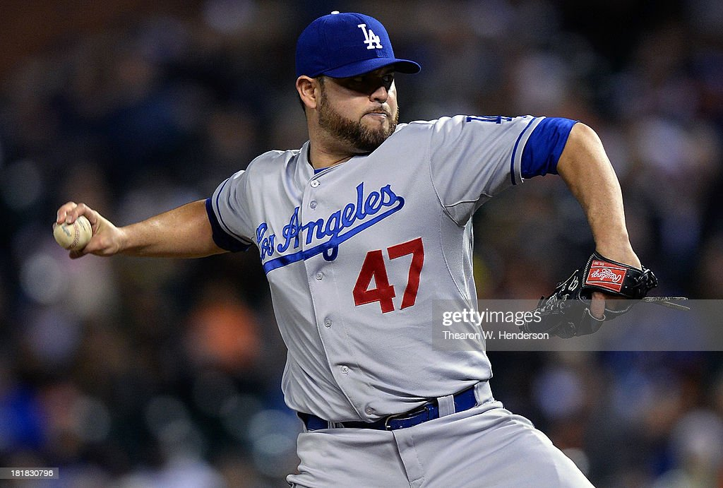 <a gi-track='captionPersonalityLinkClicked' href=/galleries/search?phrase=Ricky+Nolasco&family=editorial&specificpeople=600111 ng-click='$event.stopPropagation()'>Ricky Nolasco</a> #47 of the Los Angeles Dodgers pitches against the San Francisco Giants at AT&T Park on September 25, 2013 in San Francisco, California.