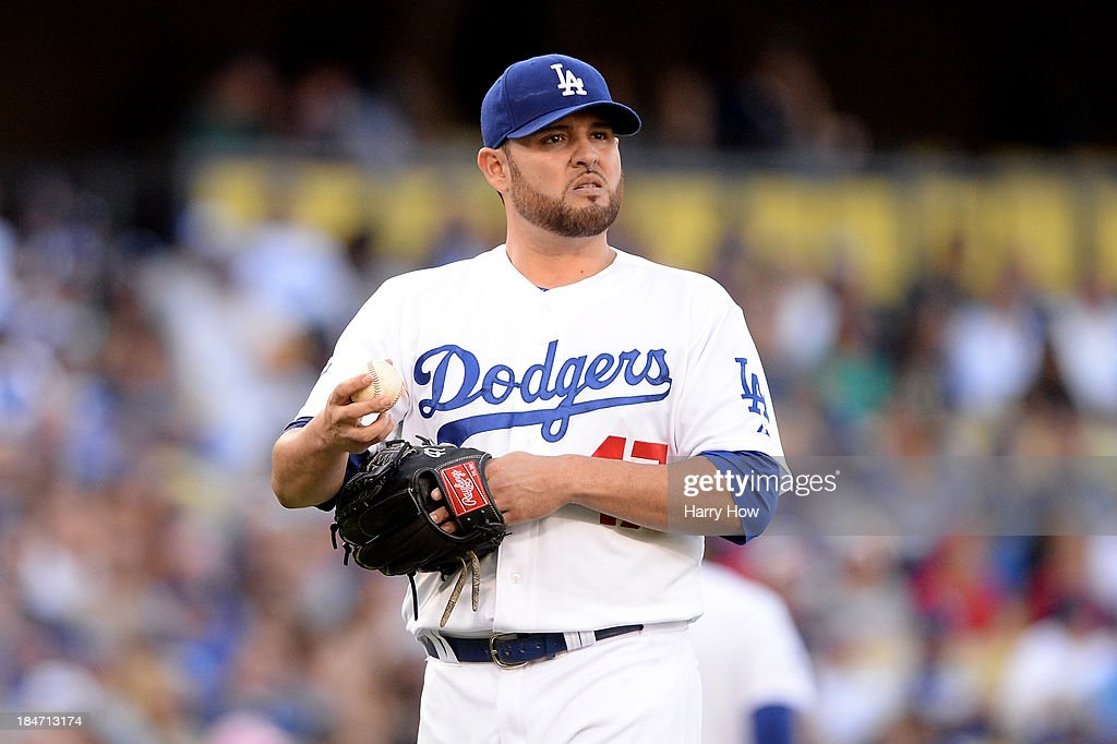 <a gi-track='captionPersonalityLinkClicked' href=/galleries/search?phrase=Ricky+Nolasco&family=editorial&specificpeople=600111 ng-click='$event.stopPropagation()'>Ricky Nolasco</a> #47 of the Los Angeles Dodgers reacts in the first inning against the St. Louis Cardinals in Game Four of the National League Championship Series at Dodger Stadium on October 15, 2013 in Los Angeles, California.