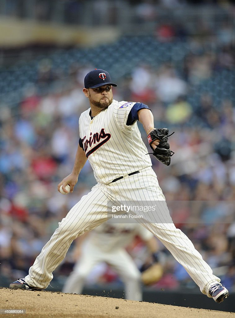 <a gi-track='captionPersonalityLinkClicked' href=/galleries/search?phrase=Ricky+Nolasco&family=editorial&specificpeople=600111 ng-click='$event.stopPropagation()'>Ricky Nolasco</a> #47 of the Minnesota Twins delivers a pitch against the Cleveland Indians during the first inning of the game on August 20, 2014 at Target Field in Minneapolis, Minnesota.
