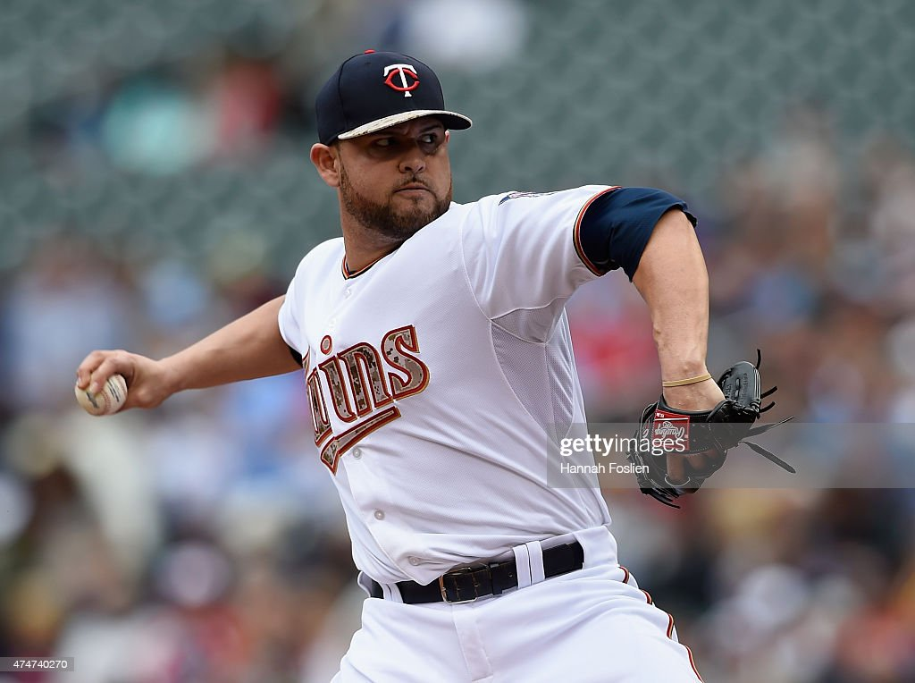 Ricky Nolasco #47 of the Minnesota Twins delivers a pitch against the Boston Red Sox during the first inning of the game on May 25, 2015 at Target Field in Minneapolis, Minnesota. The Twins defeated the Red Sox 7-2.