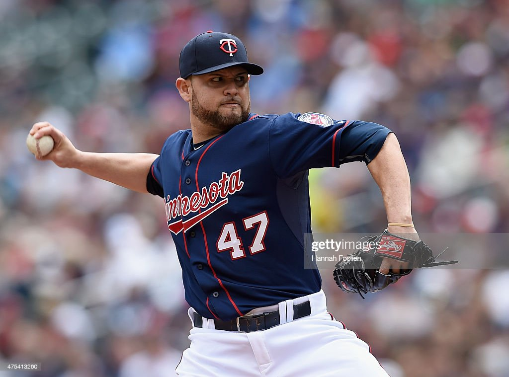<a gi-track='captionPersonalityLinkClicked' href=/galleries/search?phrase=Ricky+Nolasco&family=editorial&specificpeople=600111 ng-click='$event.stopPropagation()'>Ricky Nolasco</a> #47 of the Minnesota Twins pitches against the Toronto Blue Jays during the first inning of the game on May 31, 2015 at Target Field in Minneapolis, Minnesota.