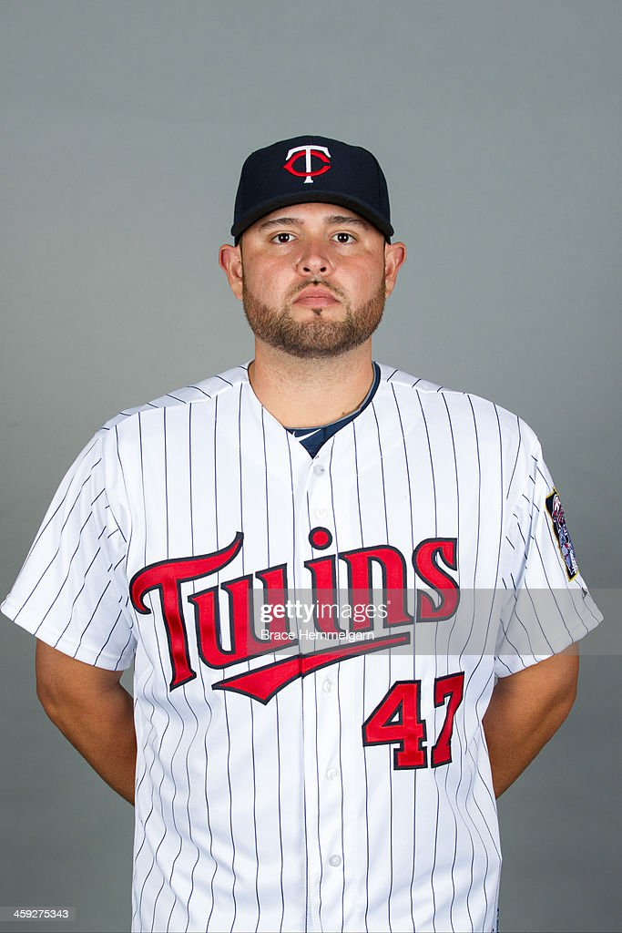 <a gi-track='captionPersonalityLinkClicked' href=/galleries/search?phrase=Ricky+Nolasco&family=editorial&specificpeople=600111 ng-click='$event.stopPropagation()'>Ricky Nolasco</a> #47 of the Minnesota Twins poses for a photo on December 3, 2013 at Target Field in Minneapolis, Minnesota.