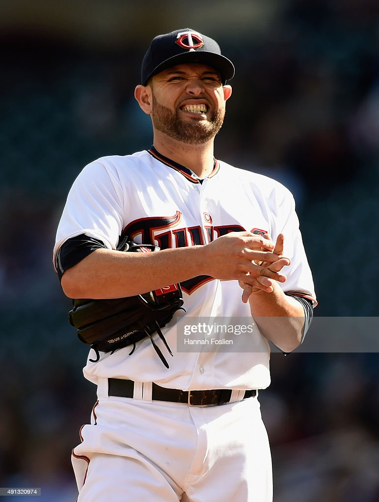 <a gi-track='captionPersonalityLinkClicked' href=/galleries/search?phrase=Ricky+Nolasco&family=editorial&specificpeople=600111 ng-click='$event.stopPropagation()'>Ricky Nolasco</a> #47 of the Minnesota Twins reacts during the second inning of the game against the Kansas City Royals on October 4, 2015 at Target Field in Minneapolis, Minnesota.