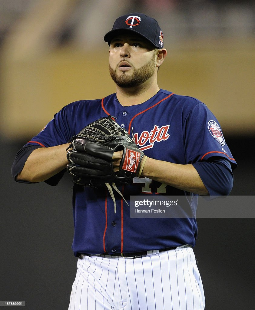 <a gi-track='captionPersonalityLinkClicked' href=/galleries/search?phrase=Ricky+Nolasco&family=editorial&specificpeople=600111 ng-click='$event.stopPropagation()'>Ricky Nolasco</a> #47 of the Minnesota Twins reacts during the sixth inning of the game against the Baltimore Orioles on May 2, 2014 at Target Field in Minneapolis, Minnesota. The Orioles defeated the Twins 3-0.