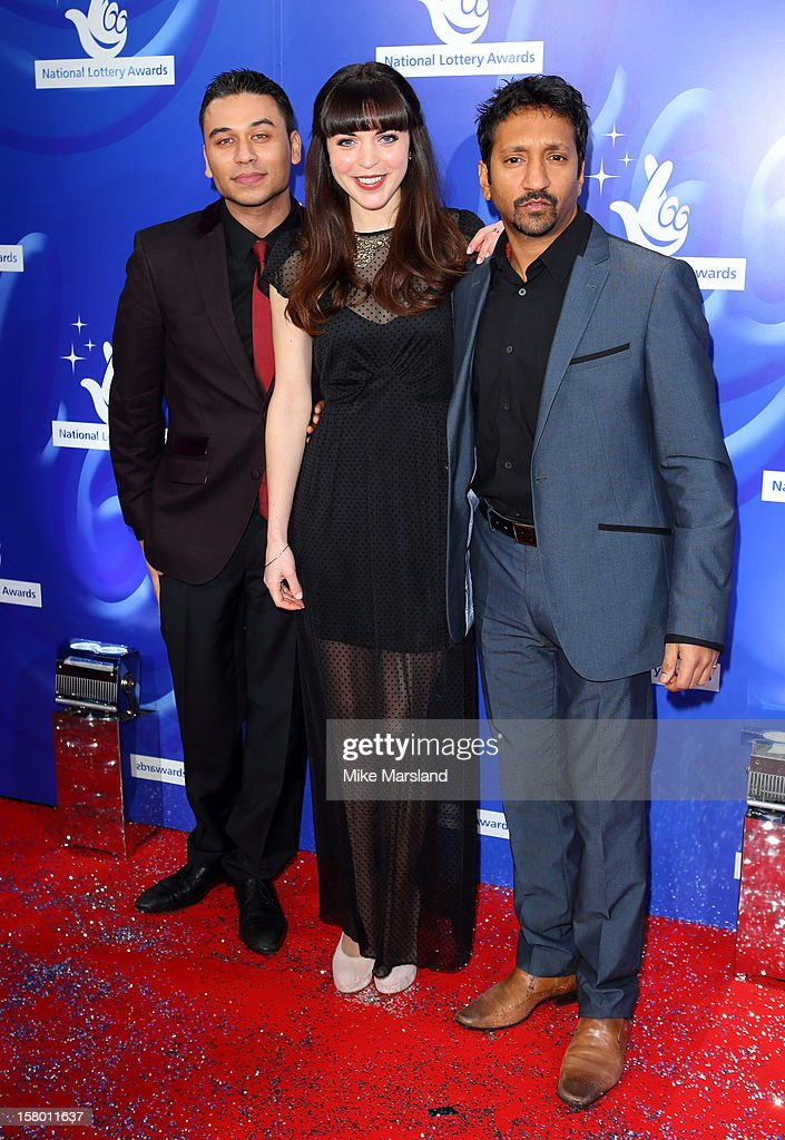 Ricky Norwood, Rachel Bright and Phaldut Sharma attend The National Lottery Awards 2012, celebrating the UK's favourite Lottery-funded projects and the difference they make to their communities at The London Studios on December 8, 2012 in London, England.