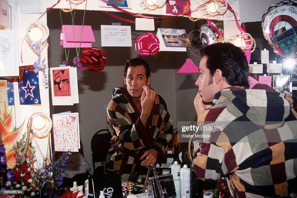 Ricky Paull Goldin in his dressing room backstage at the Grease Broadway Opening at Eugene O'Niel Theatre in New York City on May 11th 1994
