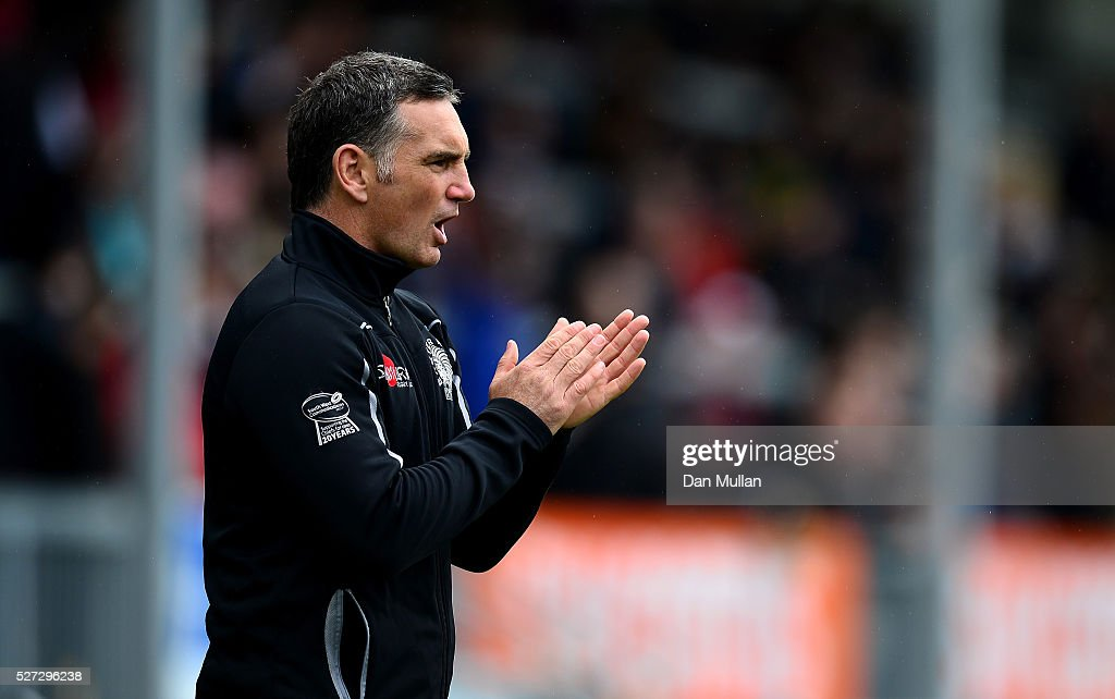 Ricky Pellow, Coach of Exeter Braves looks on prior to the Aviva Premiership A League Final between Exeter Braves and Northampton Wanderers at Sandy Park on May 02, 2016 in Exeter, England.