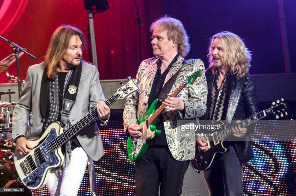 Ricky Phillips, James Young and Tommy Shaw from Styx perform in concert at Northwell Health at Jones Beach Theater on August 16, 2017 in Wantagh, New York.