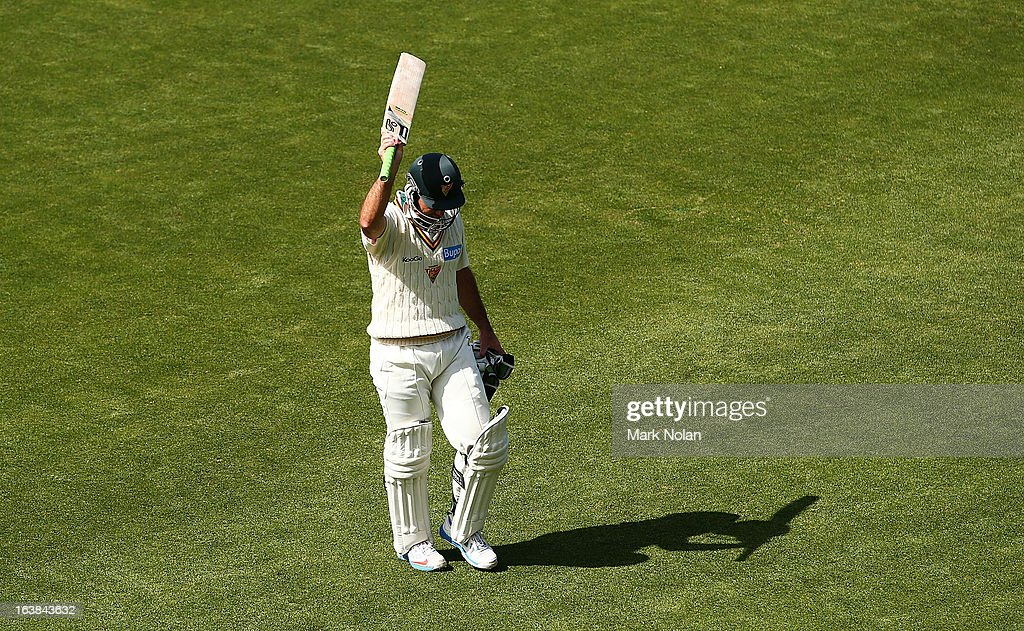 Ricky Ponting acknowledges the crowd as he walks from the ground after being dismissed in Tasmanias second innings during day four of the Sheffield Shield match between the Tasmania Tigers and the Victoria Bushrangers at Blundstone Arena on March 17, 2013 in Hobart, Australia.