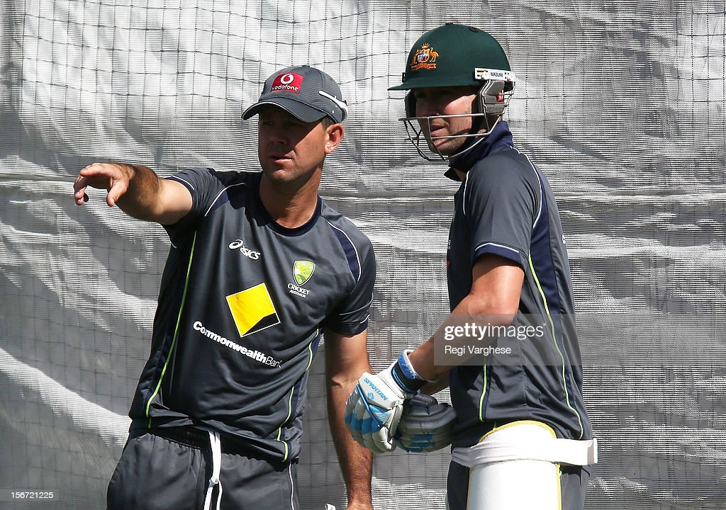 <a gi-track='captionPersonalityLinkClicked' href=/galleries/search?phrase=Ricky+Ponting&family=editorial&specificpeople=176564 ng-click='$event.stopPropagation()'>Ricky Ponting</a> and Michael Clarke talk during an Australian training session at Adelaide Oval on November 20, 2012 in Adelaide, Australia.