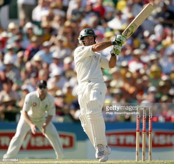 Ricky Ponting batting for Australia during his innings of 75 runs in the 3rd Test match between Australia and England at the WACA Perth Australia...