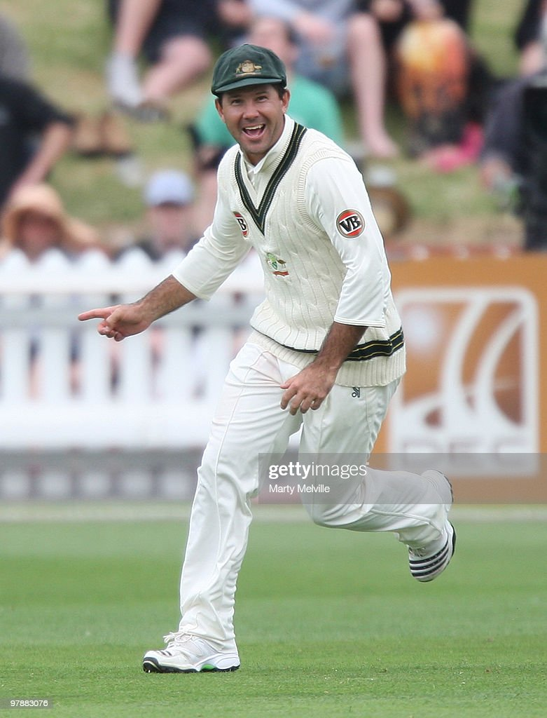 <a gi-track='captionPersonalityLinkClicked' href=/galleries/search?phrase=Ricky+Ponting&family=editorial&specificpeople=176564 ng-click='$event.stopPropagation()'>Ricky Ponting</a> captain of Australia celebrates Ross Taylor of New Zealand being caught out during day two of the First Test match between New Zealand and Australia at Westpac Stadium on March 20, 2010 in Wellington, New Zealand.