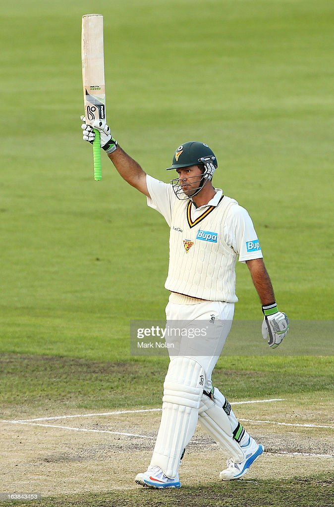 <a gi-track='captionPersonalityLinkClicked' href=/galleries/search?phrase=Ricky+Ponting&family=editorial&specificpeople=176564 ng-click='$event.stopPropagation()'>Ricky Ponting</a> Celebrates his half century during day four of the Sheffield Shield match between the Tasmania Tigers and the Victoria Bushrangers at Blundstone Arena on March 17, 2013 in Hobart, Australia.