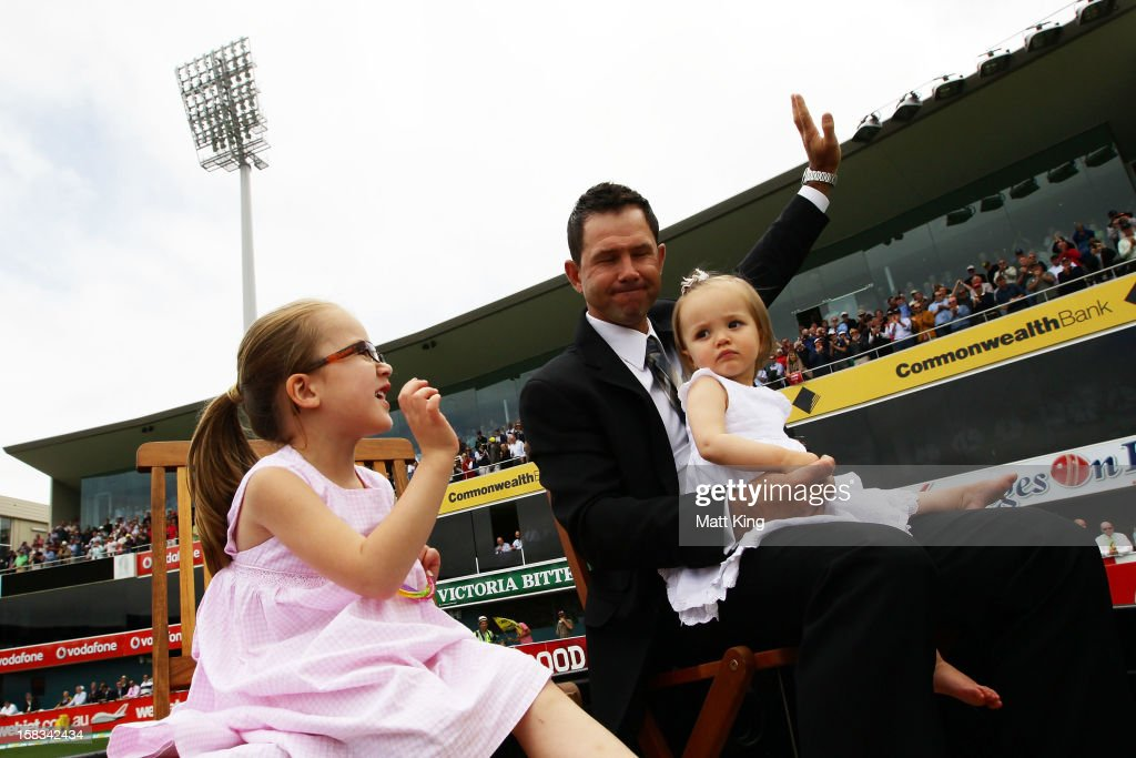 <a gi-track='captionPersonalityLinkClicked' href=/galleries/search?phrase=Ricky+Ponting&family=editorial&specificpeople=176564 ng-click='$event.stopPropagation()'>Ricky Ponting</a> does a lap of honour with his daughters Emmy Ponting (L) and Matisse Ponting (R) during day one of the First Test match between Australia and Sri Lanka at Blundstone Arena on December 14, 2012 in Hobart, Australia.