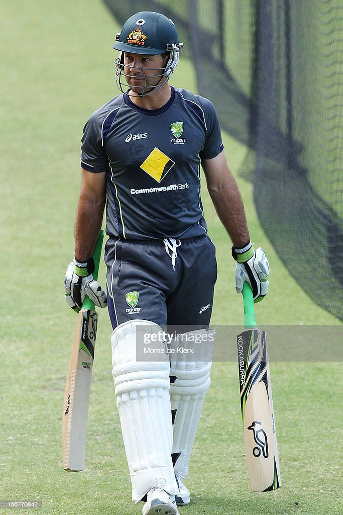 Ricky Ponting finishes his batting session during an Australian training session at Adelaide Oval on November 21, 2012 in Adelaide, Australia.