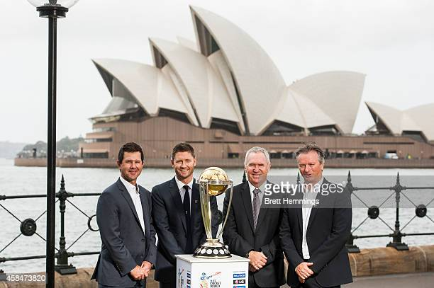 Ricky Ponting Michael Clarke Allan Border and Steve Waugh pose for a photo with the ICC Cricket World Cup Trophy during the ICC 2015 Cricket World...