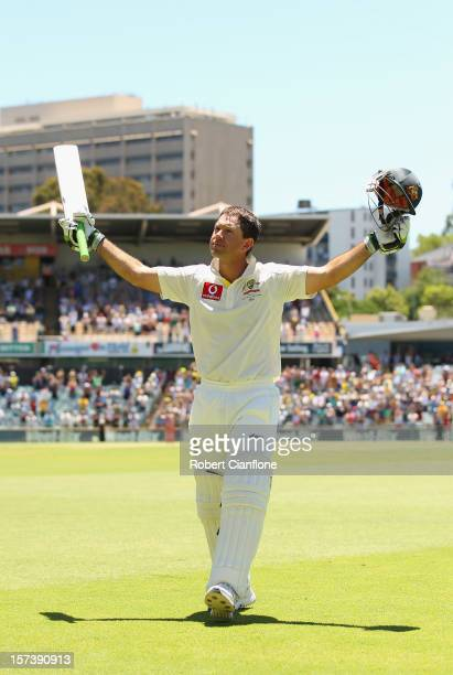 Ricky Ponting of Australia acknowledges the crowd after he was dimissed playing his last international match during day four of the Third Test Match...