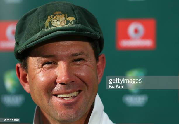Ricky Ponting of Australia addresses a media conference after playing his last International cricket match during day four of the Third Test Match...