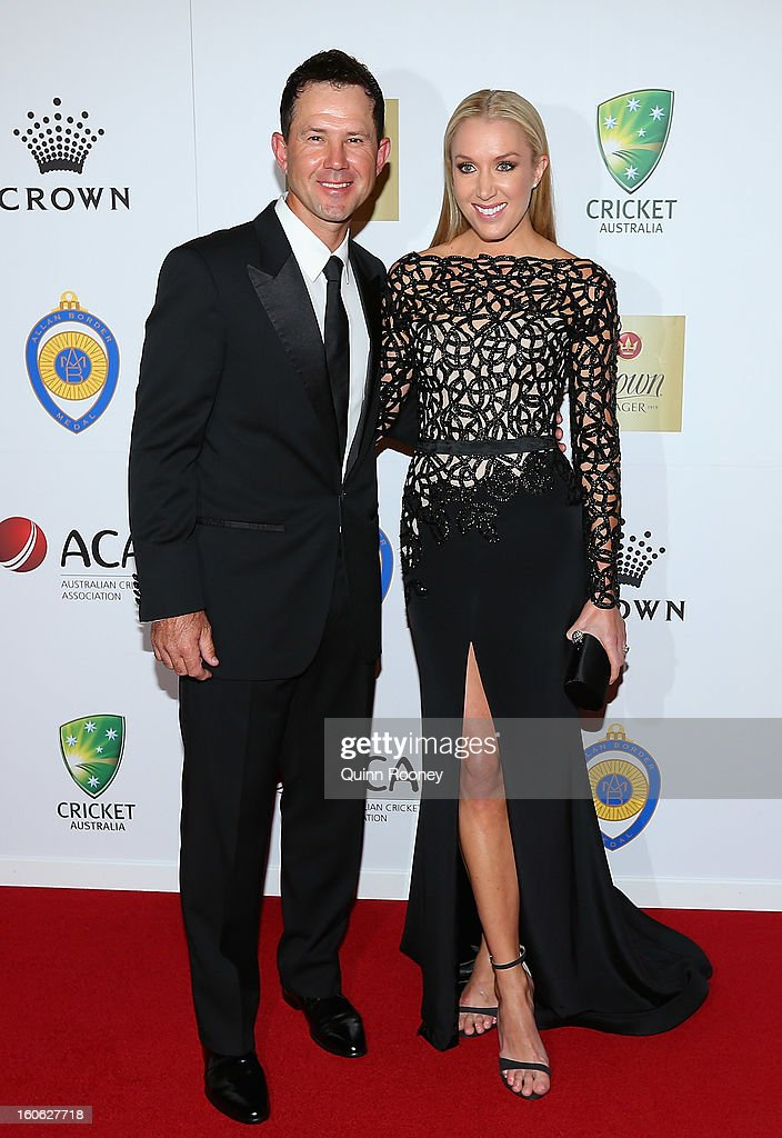 Ricky Ponting of Australia and his wife Rianna Ponting arrive at the 2013 Allan Border Medal awards ceremony at Crown Palladium on February 4, 2013 in Melbourne, Australia.