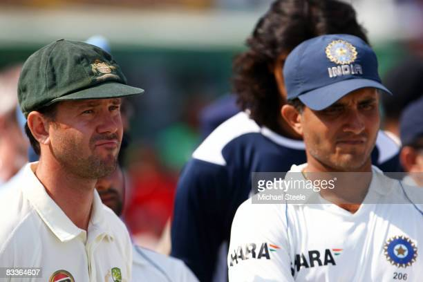 Ricky Ponting of Australia and Sourav Ganguly of India look on during the postmatch presentation ceremony after day five of the Second Test match...