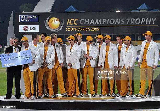 Ricky Ponting of Australia and the rest of the team celebrate during the ICC Champions Trophy Final between Australia and New Zealand played at...