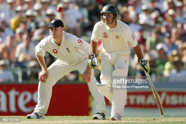 Ricky Ponting of Australia backing up as England captain Andrew Flintoff fields during the 3rd Test match between Australia and England at the WACA...