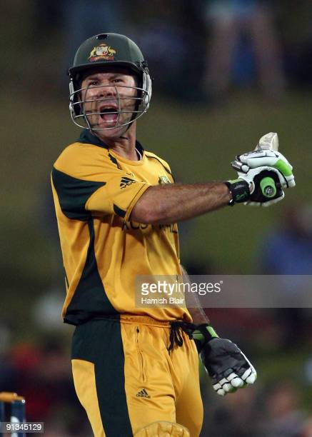 Ricky Ponting of Australia celebrates his century during the ICC Champions Trophy 1st Semi Final match between Australia and England played at...