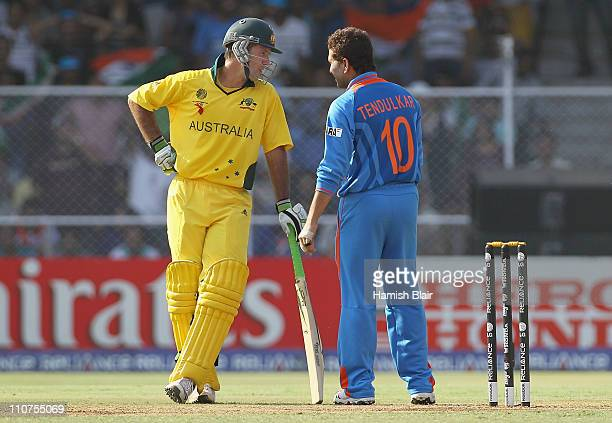 Ricky Ponting of Australia chats with Sachin Tendulkar of India during the 2011 ICC World Cup Quarter Final match between Australia and India at...