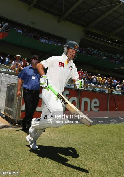 Ricky Ponting of Australia comes out to bat for the last time in his international career during day four of the Third Test Match between Australia...