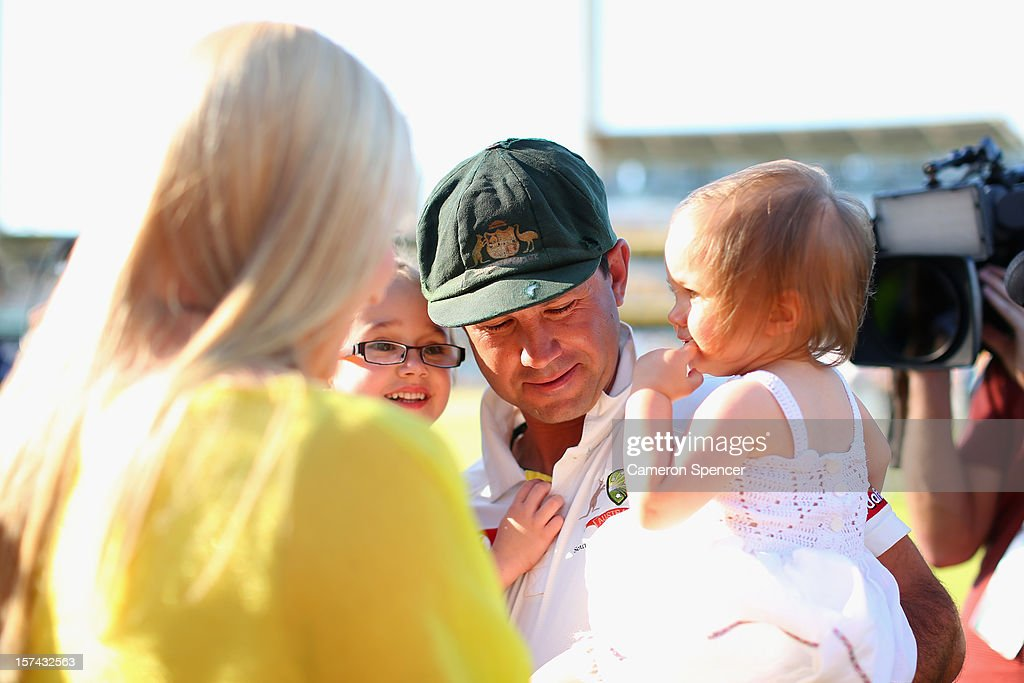 Ricky Ponting of Australia greets his wife Rianna, and daughters Matisse (R) and Emmy following playing his last test match for Australia during day four of the Third Test Match between Australia and South Africa at the WACA on December 3, 2012 in Perth, Australia.