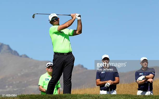 Ricky Ponting of Australia hits a driver on hole No 3 during day two of the 2016 New Zealand Open at The Hills on March 11 2016 in Queenstown New...