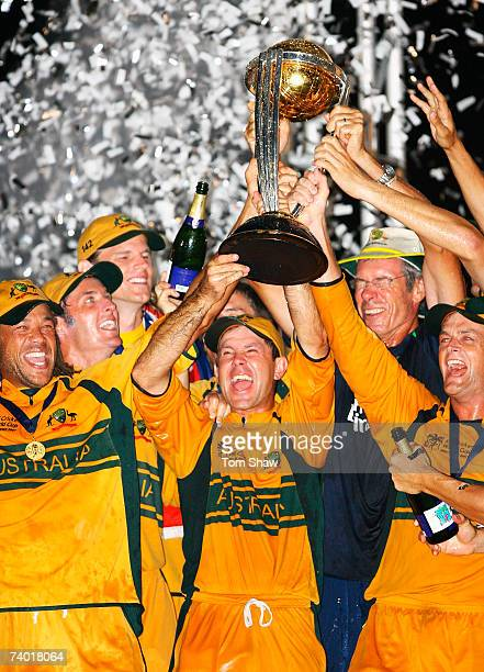 Ricky Ponting of Australia holds the ICC Cricket World Cup trophy after the ICC Cricket World Cup Final between Australia and Sri Lanka at the...