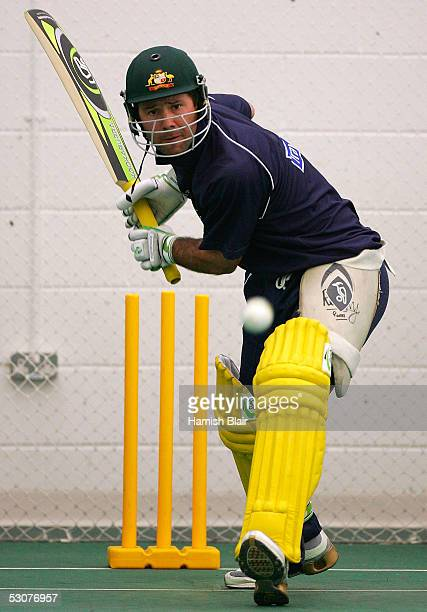 Ricky Ponting of Australia in action during training in the indoor nets at Sophia Gardens on June 16 2005 in Cardiff United Kingdom