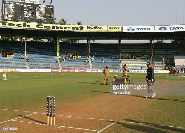 Ricky Ponting of Australia inspects the pitch before day three of the Fourth Test between India and Australia at Wankhede Stadium on November 5 2004...