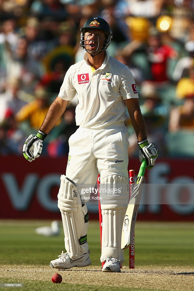 Ricky Ponting of Australia is bowled Dale Steyn of South Africa during day three of the Second Test Match between Australia and South Africa at Adelaide Oval on November 24, 2012 in Adelaide, Australia.