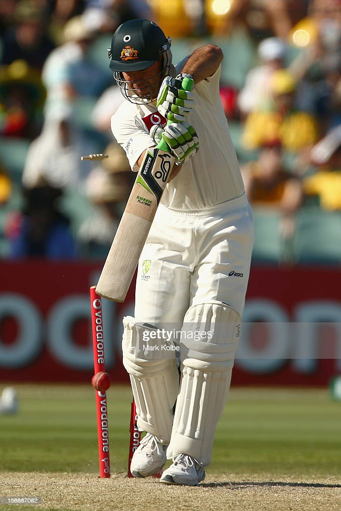 <a gi-track='captionPersonalityLinkClicked' href=/galleries/search?phrase=Ricky+Ponting&family=editorial&specificpeople=176564 ng-click='$event.stopPropagation()'>Ricky Ponting</a> of Australia is bowled Dale Steyn of South Africa during day three of the Second Test Match between Australia and South Africa at Adelaide Oval on November 24, 2012 in Adelaide, Australia.