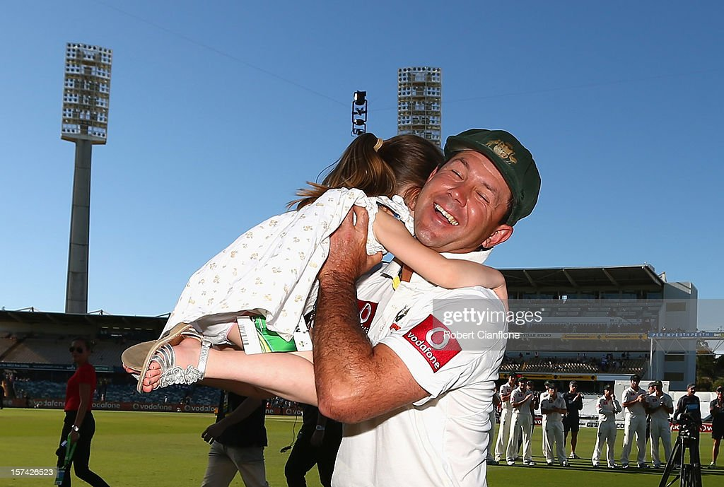 <a gi-track='captionPersonalityLinkClicked' href=/galleries/search?phrase=Ricky+Ponting&family=editorial&specificpeople=176564 ng-click='$event.stopPropagation()'>Ricky Ponting</a> of Australia is greeted by his daughter Emmy after day four of the Third Test Match between Australia and South Africa at WACA on December 3, 2012 in Perth, Australia.
