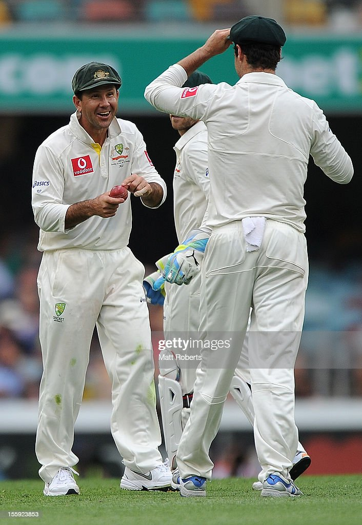 <a gi-track='captionPersonalityLinkClicked' href=/galleries/search?phrase=Ricky+Ponting&family=editorial&specificpeople=176564 ng-click='$event.stopPropagation()'>Ricky Ponting</a> of Australia laughs as he points at the ball during day one of the First Test match between Australia and South Africa at The Gabba on November 9, 2012 in Brisbane, Australia.