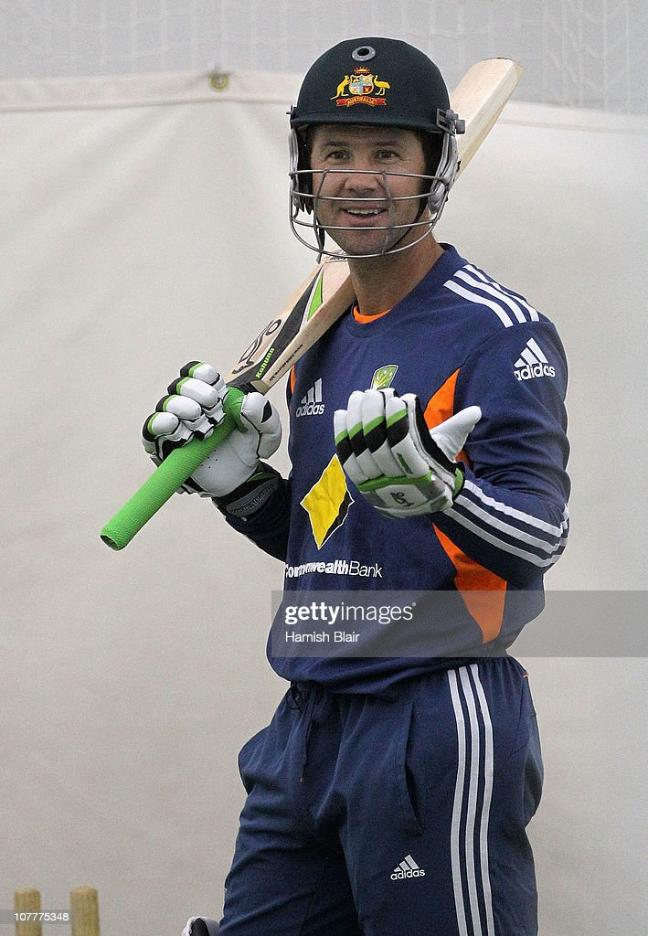 Ricky Ponting of Australia laughs while batting in the indoor nets during an Australian training session at the Melbourne Cricket Ground on December 24, 2010 in Melbourne, Australia.