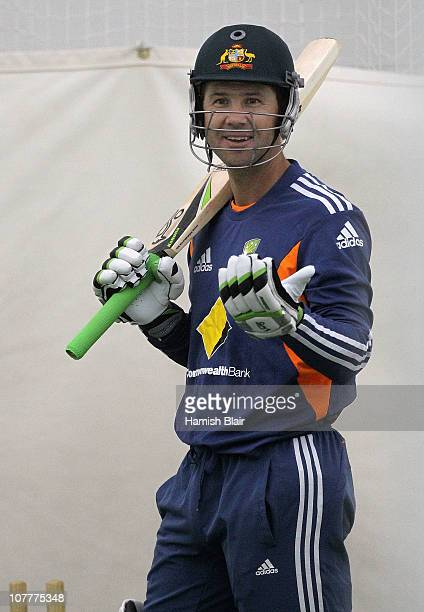 Ricky Ponting of Australia laughs while batting in the indoor nets during an Australian training session at the Melbourne Cricket Ground on December...