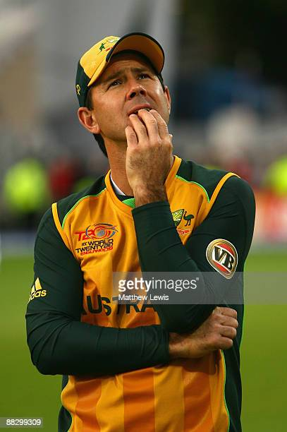 Ricky Ponting of Australia looks on at the end of the ICC World Twenty20 match between Australia and Sri Lanka at Trent Bridge on June 8 2009 in...