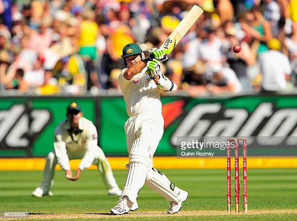 Ricky Ponting of Australia plays a pull shot during day one of the First Test match between Australia and Pakistan at Melbourne Cricket Ground on...
