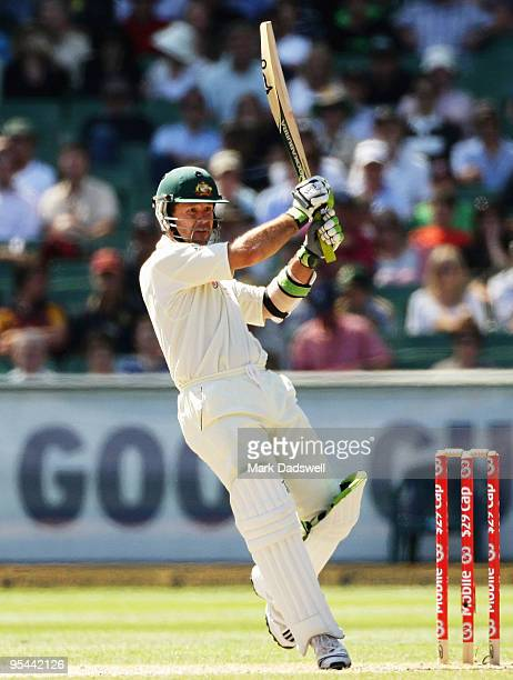 Ricky Ponting of Australia plays a pull shot during day three of the First Test match between Australia and Pakistan at Melbourne Cricket Ground on...