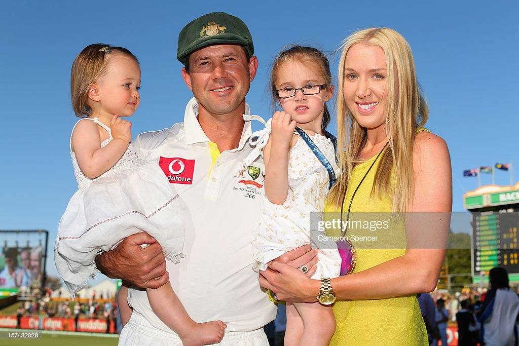 <a gi-track='captionPersonalityLinkClicked' href=/galleries/search?phrase=Ricky+Ponting&family=editorial&specificpeople=176564 ng-click='$event.stopPropagation()'>Ricky Ponting</a> of Australia poses with his daughters Emmy (L), Matisse and wife <a gi-track='captionPersonalityLinkClicked' href=/galleries/search?phrase=Rianna+Ponting&family=editorial&specificpeople=623672 ng-click='$event.stopPropagation()'>Rianna Ponting</a> following playing his last test match for Australia on day four of the Third Test Match between Australia and South Africa at WACA on December 3, 2012 in Perth, Australia.