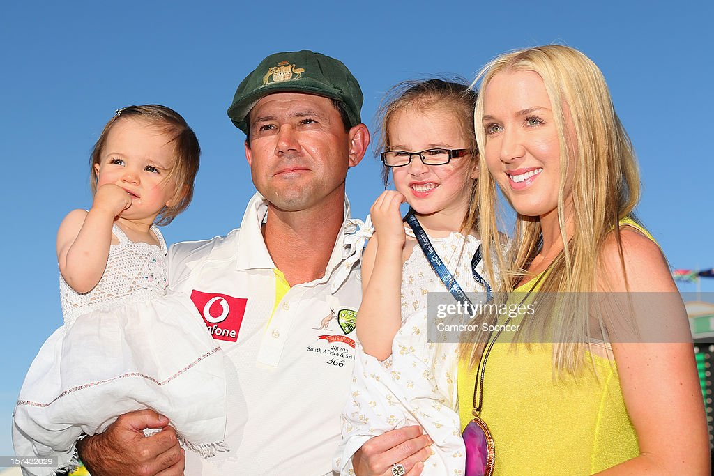 Ricky Ponting of Australia poses with his daughters Emmy (L), Matisse and wife Rianna Ponting following playing his last test match for Australia on day four of the Third Test Match between Australia and South Africa at WACA on December 3, 2012 in Perth, Australia.