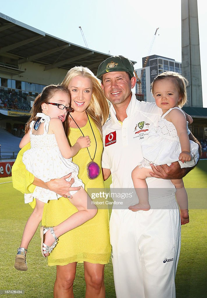 Ricky Ponting of Australia poses with his wife Rianna, and their children, Emmy and Matisse after day four of the Third Test Match between Australia and South Africa at WACA on December 3, 2012 in Perth, Australia.